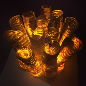 Christina Zwart, Moo-Tubes, 2014. Cow Trachea Yellow LEDs. 10 x 10 x 10 inches. Photo Courtesy of the Artist.