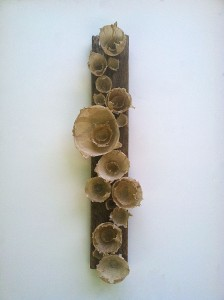 Molly Blumberg, In The Garden of Ashes. Handmade Paper, Found Wood. 48 x 15 x 8.