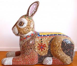 Yetti Frenkel, Bunny Bench, 2014. EPS Foam, Fiberglass, Cement, Glass Mosaic. 36 x 18 x 45. Photo Courtesy of the Artist.