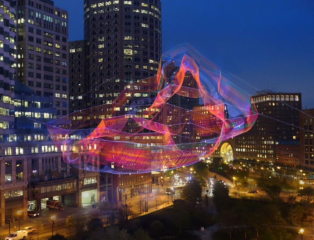 """Janet Echelman, """"As If It Were Already Here"""" Photo by Melissa Henry"""