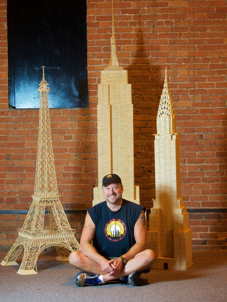Stan Munro with his Empire State Building, Chrysler Building, and Eiffel Tower, 2015. Photo by Antoinette Horrace.