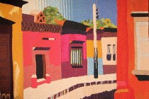 "Mary Merrill, South of the Border, Wool tapestry 71"" x 60"" Collection of William and Gary Sanders."