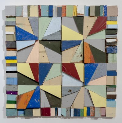 """Laura Petrovich-Cheney, In the Thick of It, 2015, 24"""" x 24"""" x 1"""", salvaged wood from Hurricane Sandy"""