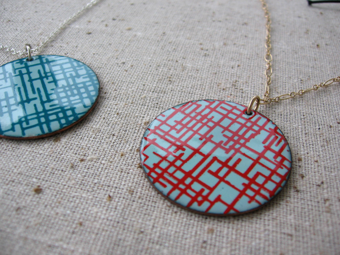 Jewelry silkscreened by Tanya Crane