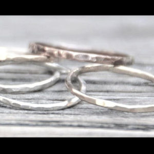 Stackable Silver Metal Rings