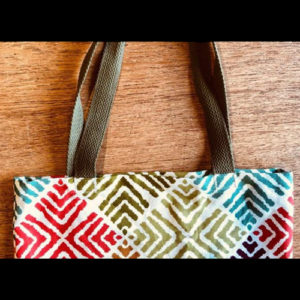 Tote bag with colorful diamond pattern