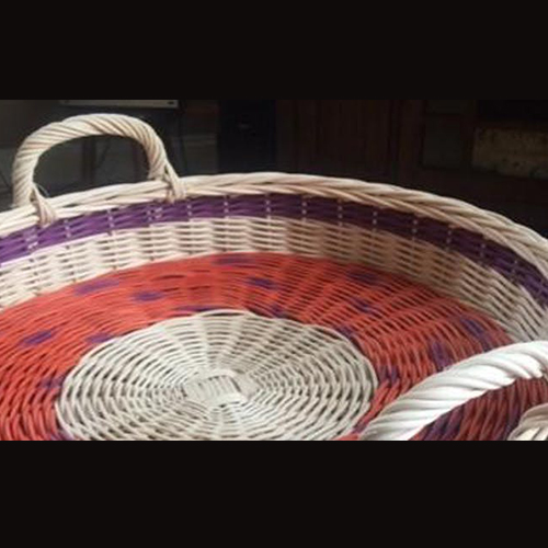 Red, white, and purple,wicker basket
