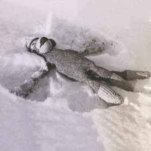 Sock monkey laying in snow, creating a snow angel