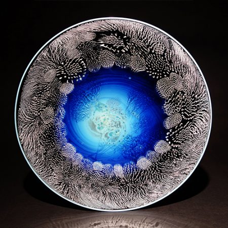 "Reactive Silver Glass, 17.75"" Diameter"