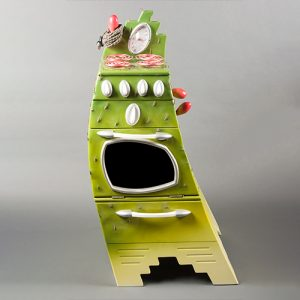 An abstract green stove, made with poplar, plywood, aluminum, neon, plexiglass, rubber, plastic