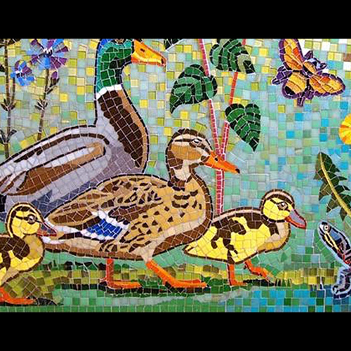 colorful mosaic of ducks, and a turtle