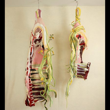 Discarded clothing, meat hooks