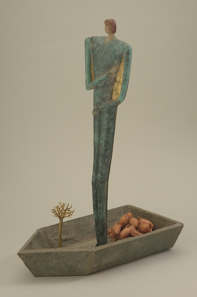 image of River, Robin Grebe, 1990. Cast glass, ceramic, wood, cement. 31 x 24 x 11-1/2 in