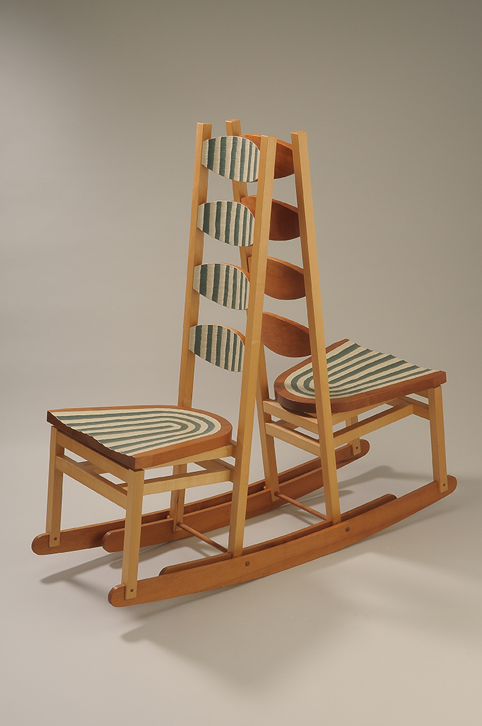 """image of Double Rocker, Back to Back, Tom Loeser, 2005. Cherry, maple, milk paint. 51 x 52.5 x 17.5"""""""