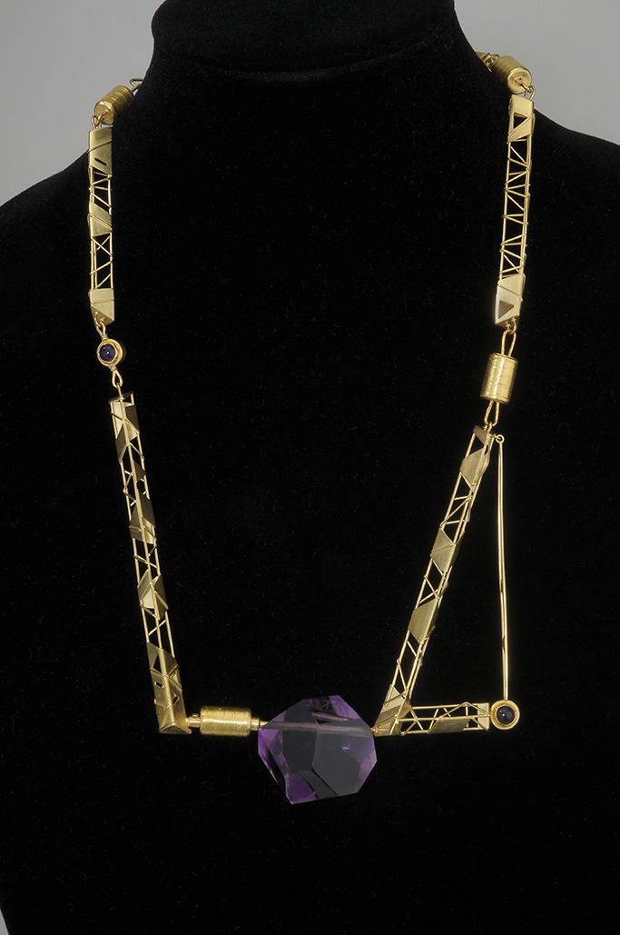 Image of The Big Dig Necklace #1426, Alexandra Watkins, 1993. Variable. 18k and 24k gold, amethyst.