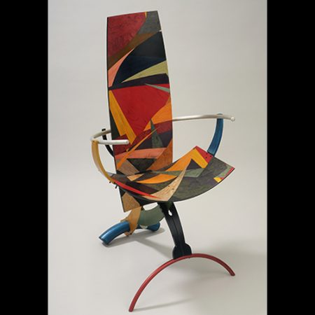 Jay Stanger, Arched and Animated, 1994 anodized aluminum and dyed wood veneers