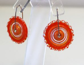 Orange glass disc earrings by Beth Williams