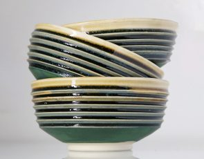 Green striped ceramic bowls
