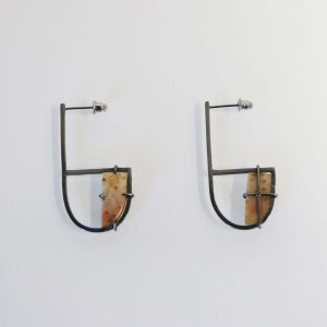 Silver and fossilized wood earrings