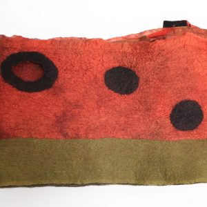 Rust and moss merino wool and silk scarf