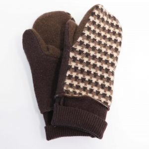 Brown wool mittens with a white and brown design